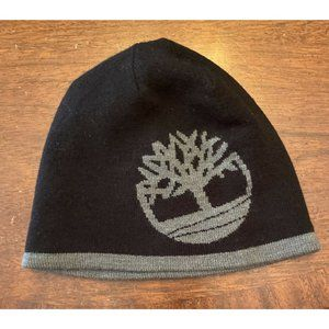 Timberland NWT Black and Gray Logo'd Beanie